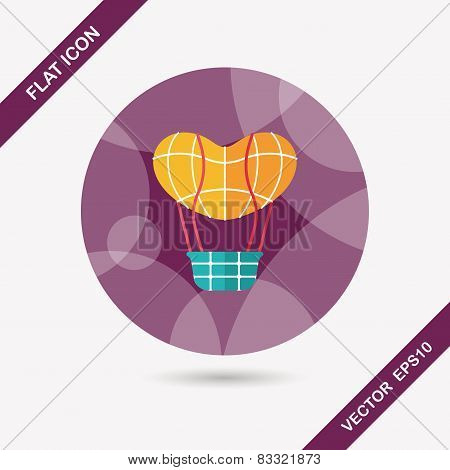 Valentine's Day Hot Air Ballon Flat Icon With Long Shadow,eps10