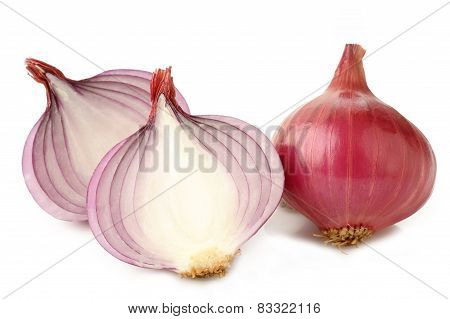 Sliced Shallot On White Background