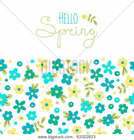 Sizon card Hello Spring with cute flowers.