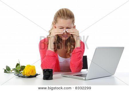 Weeping Woman At A Computer