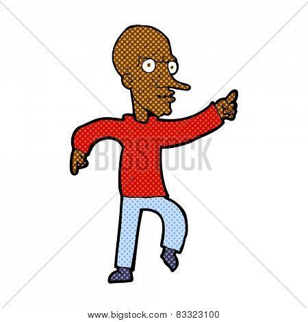 cartoon bald man pointing