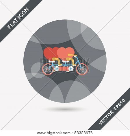 Valentine's Day Love Heart Couple Riding Bicycle Flat Icon With Long Shadow,eps10