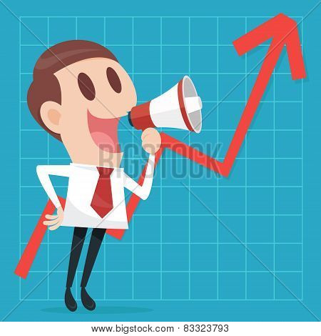 Businessman With Business Growing Graph