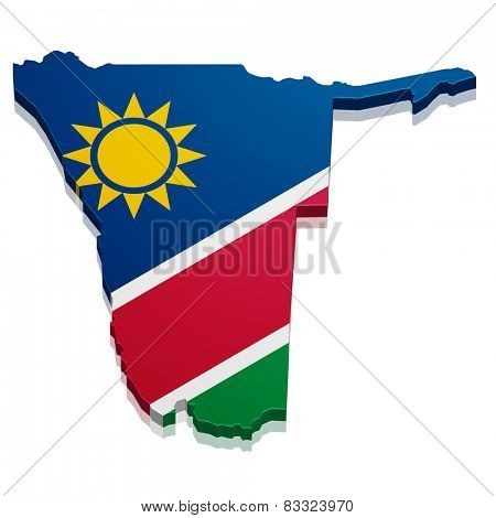 detailed illustration of a map of Namibia with flag, eps10 vector