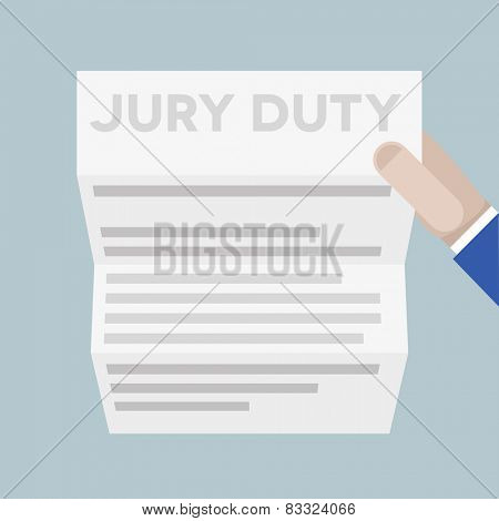 detailed illustration of a hand holding a sheet of paper with jury duty headline, eps10 vector