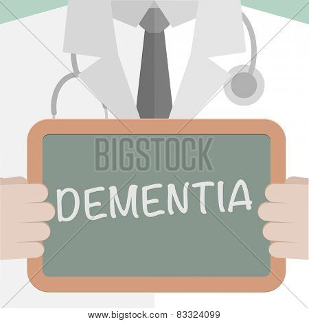 minimalistic illustration of a doctor holding a blackboard with Dementia text, eps10 vector