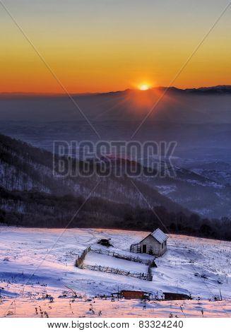 high altitude mountain at sunset
