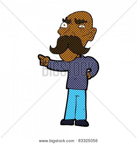 retro comic book style cartoon annoyed old man pointing