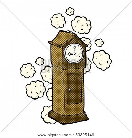 retro comic book style cartoon dusty old grandfather clock