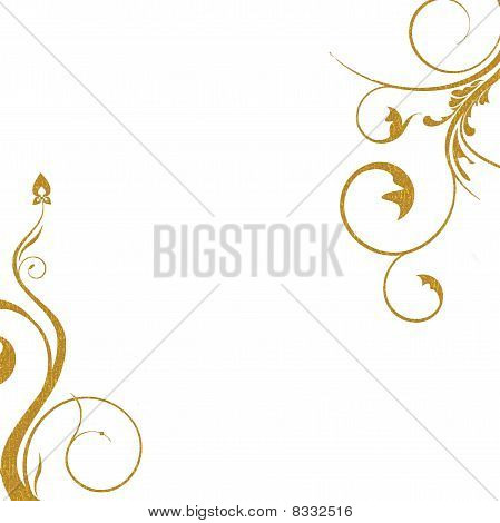 gold swirls on white background