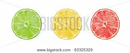 Collection of citrus slices -  lemon, lime and grapefruit isolated on white background