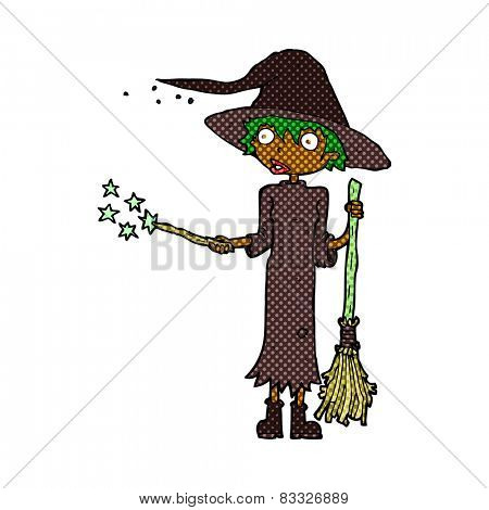 retro comic book style cartoon witch casting spell