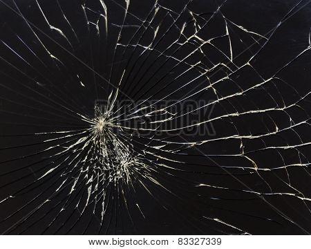 Broken Horizontal Glass Black Background
