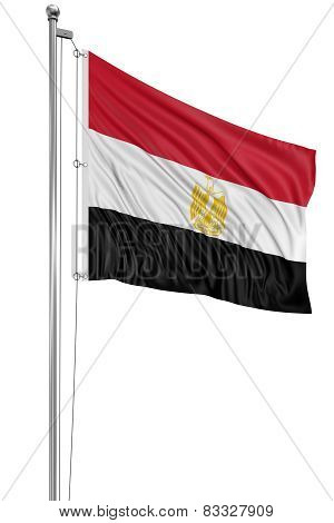 3D Egyptian flag (clipping path included)