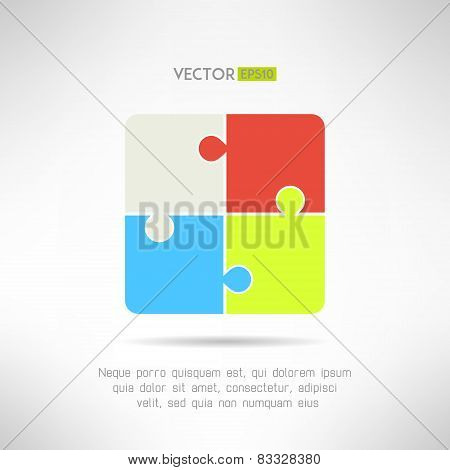 Two on two puzzle icon. Riddle concept. Vector illustration
