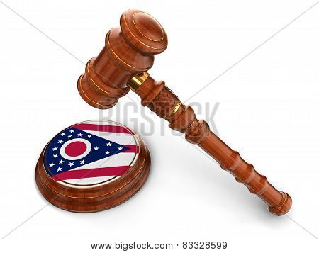 Wooden Mallet and flag Of Ohio (clipping path included)