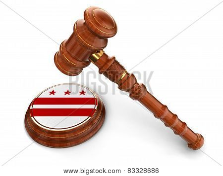 Wooden Mallet and flag Of Washington D.C. (clipping path included)