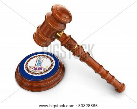 Wooden Mallet and flag Of Virginia (clipping path included)
