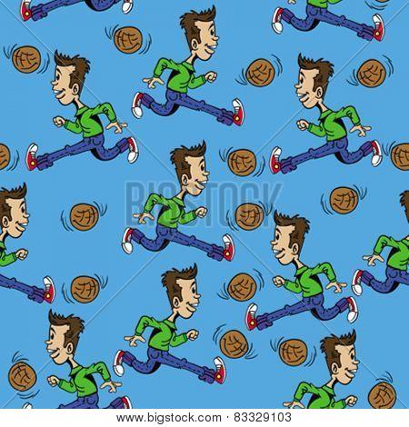 boy with football seamless pattern cartoon illustration