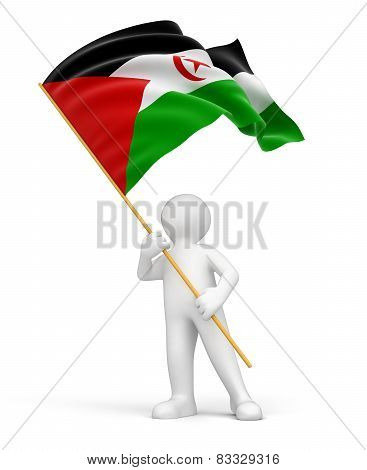 Western Sahara Flag and man (clipping path included)
