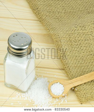 Salt Shaker and Wooden Spoon