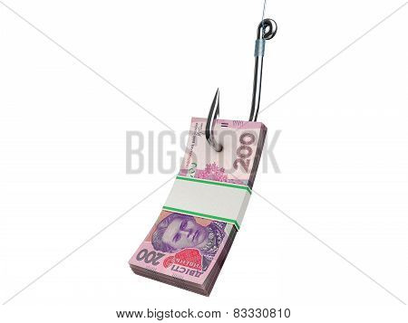 Stack of ukrainian money on the fishing hook isolated on white