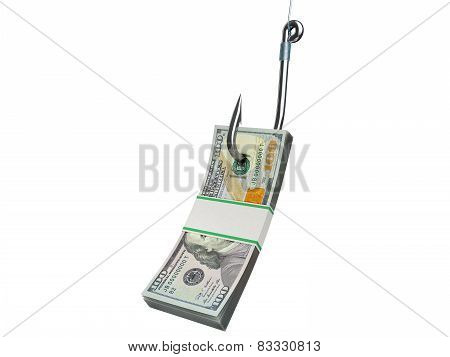Stack of dollars money on the fishing hook isolated on white