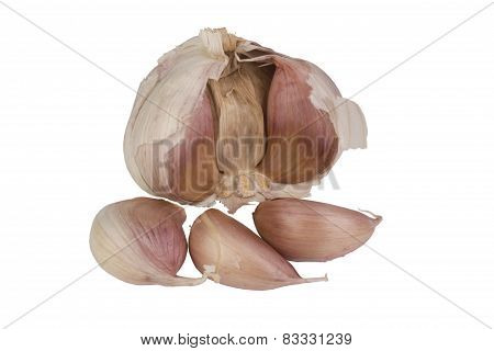 Garlic With Three Cloves Isolated On White