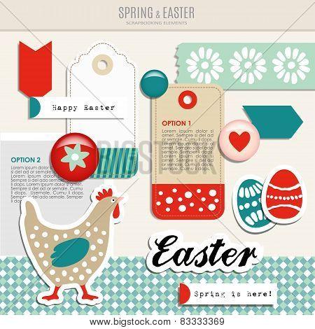 Set Of Cute Spring Easter Scrapbooking Elements, Vector