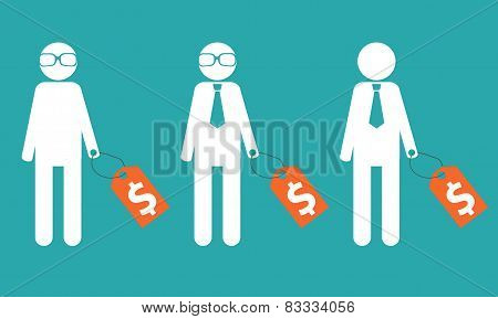 Selecting an employee. Man in glasses and tie with a price tag. Vector illustration