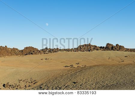Volcano Landscape With Moon