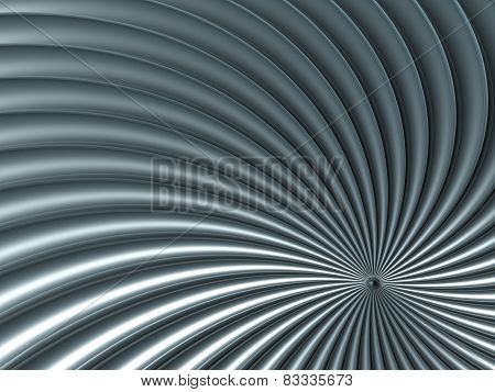 Abstract background of 3d high tech structure silver spiral
