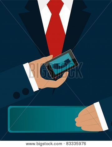 Businessman in a suit holding a phone. Business concept ound sign idea