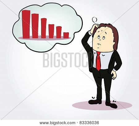 Businessman and diagram  cartoon character. Person, thinking about chart going down. Concept