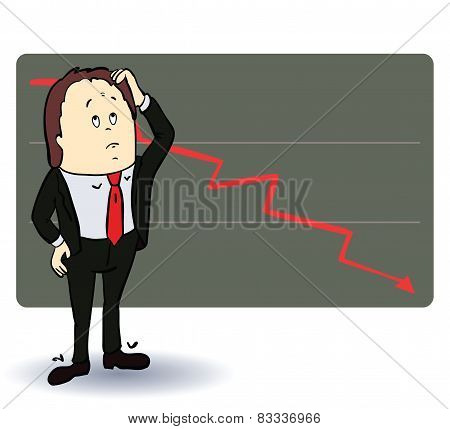 Frightened man in a chart going down. Cartoon illustration. Vectorned man in a chart going down. Car