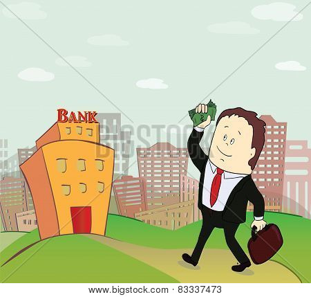 illustration of business man going to bank building