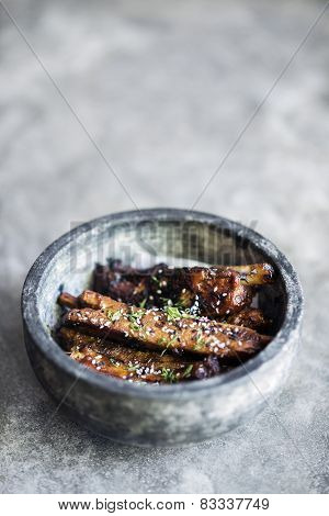 Grilled Marinated Pork Ribs With Sweet Sesame Sauce