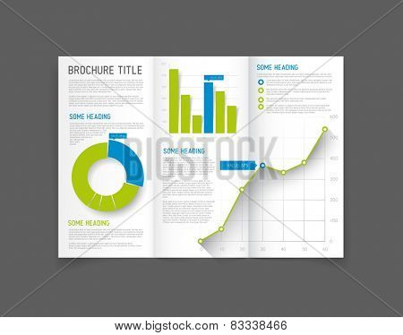 Modern Vector three fold brochure / leaflet / flyer design template with graphs and charts