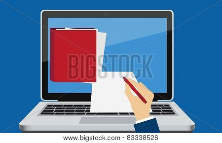 Electronic signature. Laptop with documents and hand with pen. Business concept