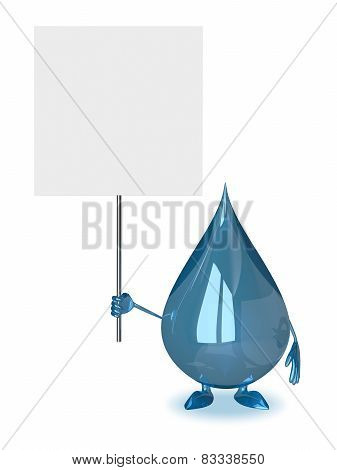 Water Drop With Placard