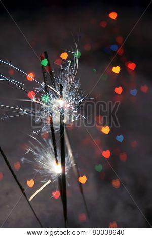 Heart Bokeh And Sparkler