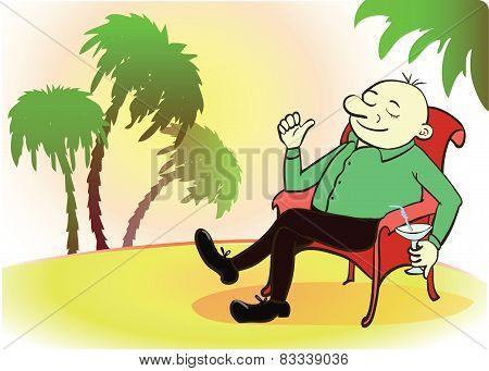 Businessman on vacation. Rich person on sea beach. Cartoon vector illustration