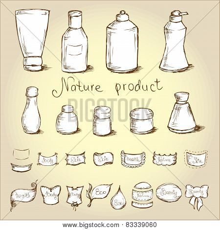 Set Bottles, Tubes And  Them Label . Vector Illustration.