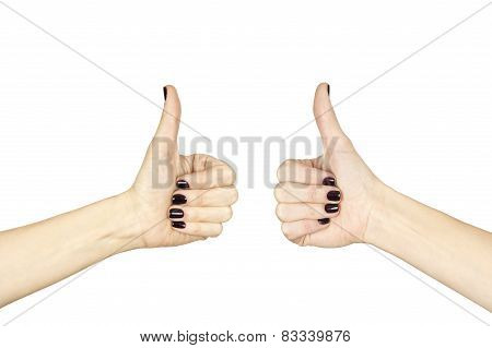 Female Hand Making Ok Sign With Thumb Up Isolated Over White