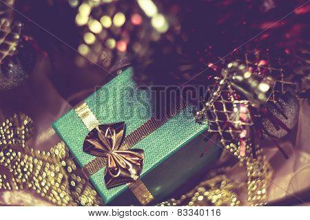 Xmas Tree And Green Gift Box