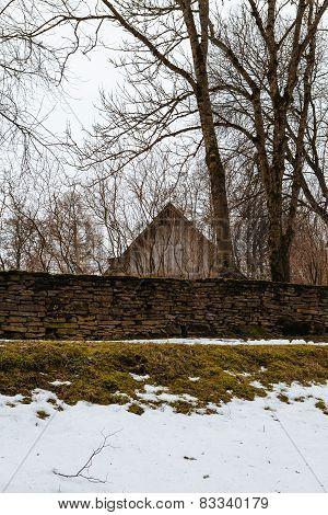 Medieval Swedish village Kallavere in winter
