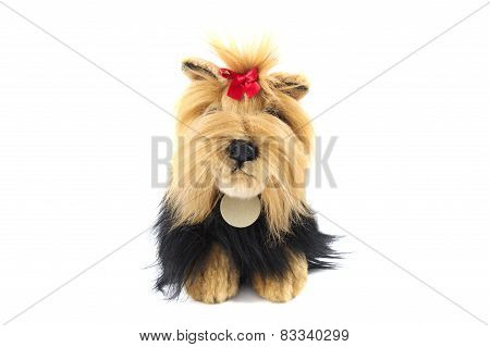 Stuffed Shaggy Toy Dog Isolated Over White