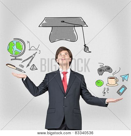 Student juggling education icons