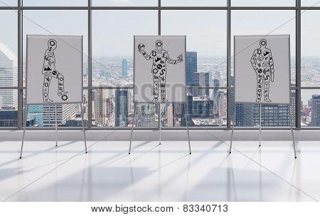 Three  Businessman With Money Icons
