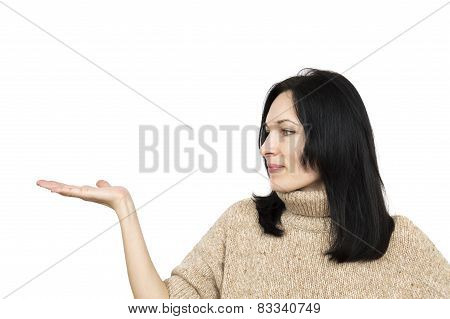 Woman Wearing Beige Sweater Holding Arm Palm Up Isolated Over White